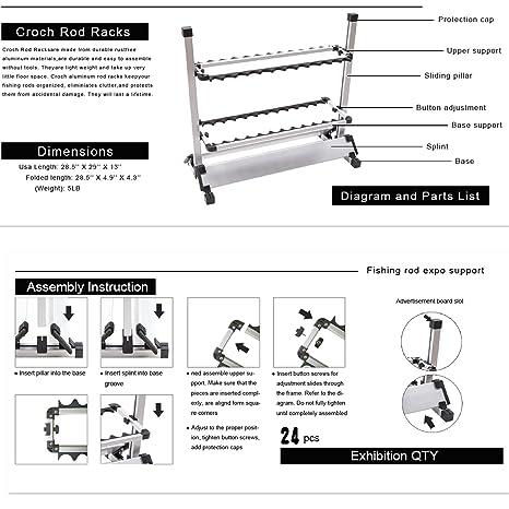 amazon com croch fishing rod rack fishing rod holder horizontal fishing rod rack plans wall mount rod rack – 6 rod holder