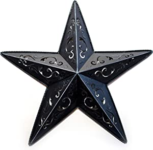 """Grila Black LACY Metal BARN Star 24"""" - Rustic Cut Out Style Country Indoor Outdoor Christmas Home Decor. Interior Exterior Lacey Metal Stars Decorations Look Great Hanging on House Walls Fence Porch"""