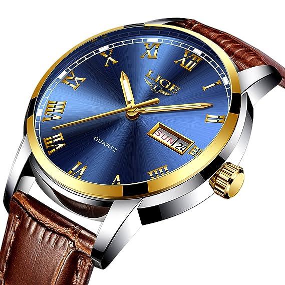 Relojes de hombre de moda simple de negocios de cuero de cuarzo reloj, impermeable 30 m relojes de muñeca hombre automático fecha azul reloj: Amazon.es: ...