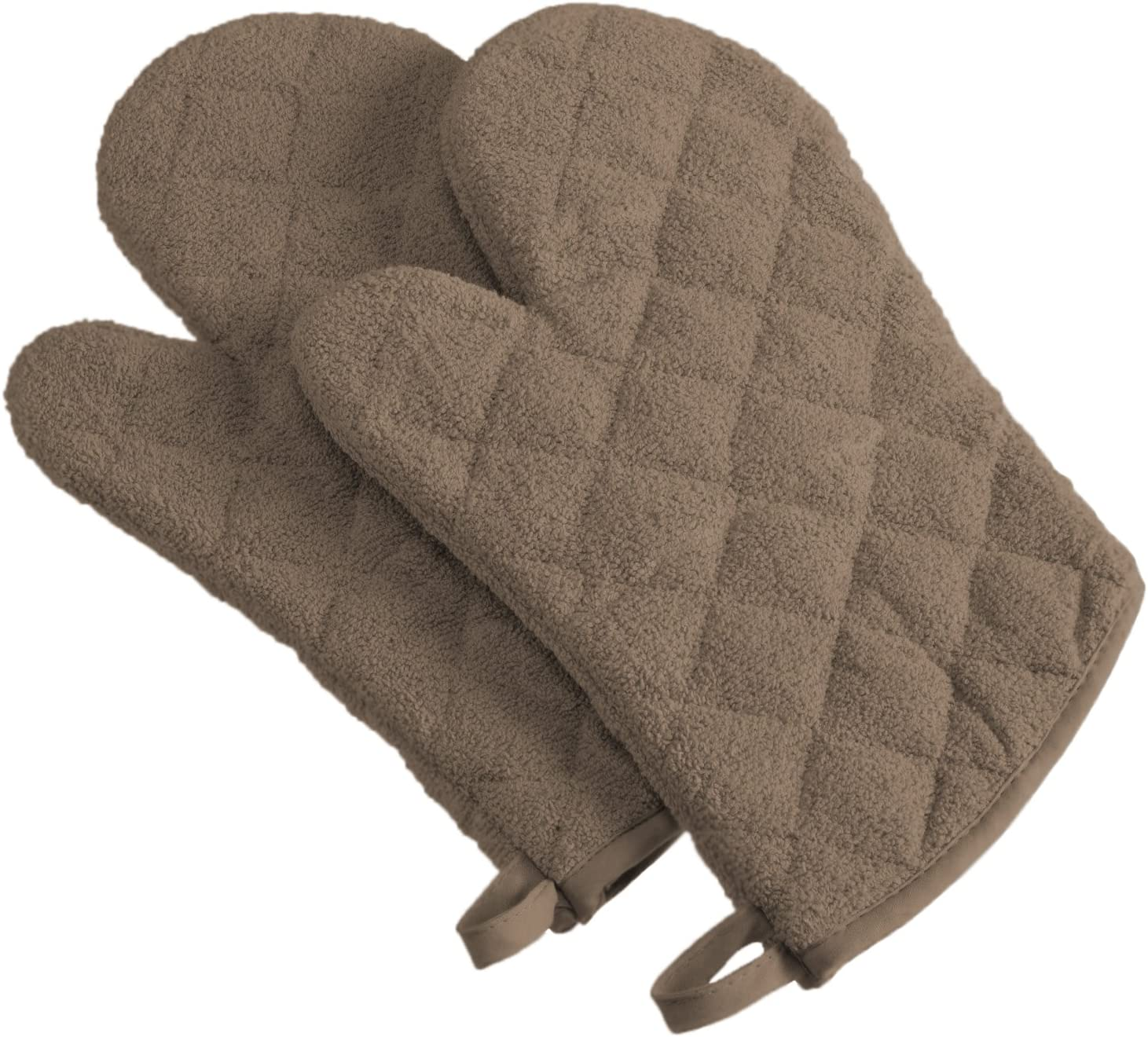 DII 100% Cotton, Terry Oven Mitt Set Machine Washable, Heat Resistant, 7 x 13, Brown, 2 Piece