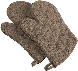 DII 100% Cotton, Terry Oven Mitt Set Machine Washable, Heat Resistant, 7 x 13, Brown, 2 Piece