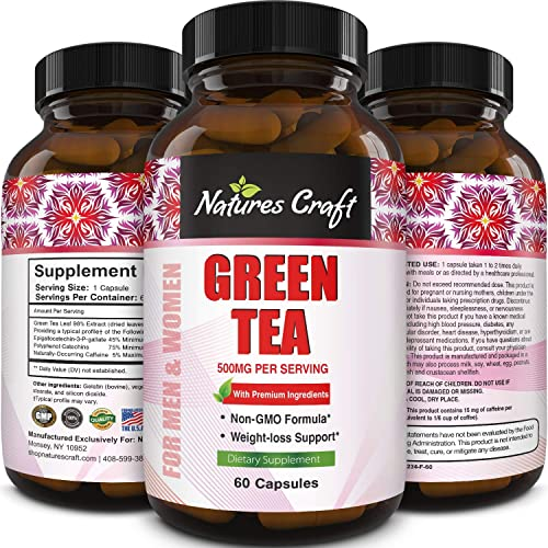 Green Tea Pills Stomach Fat Burner All Natural Weight Loss Men and Women Boost Metabolism Heart Health Supplements Detox Cleanse Pure Green Tea Leaf Extract Energy Booster Antioxidant