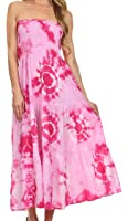 Sakkas Sheila Ocean Shore Sleeveless Tie Dye Long Dress / Skirt
