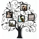 """Adeco PF0588 Brown Black Decorative Tree Style Collage Iron Metal Wall Family Tree Scroll Hanging Picture Photo Frame, 5 Opening , 4x4"""" Each, Black with Antique Finish"""