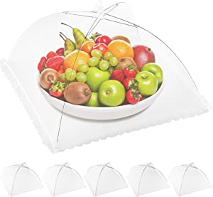 Zulay (6-Pack) Pop Up Mesh Food Cover - Collapsible Umbrella Design Mesh Food Covers For Outside & Indoor Use - Reusable Screen Mesh Food Tent For Kitchen, Outdoors, Picnics, Parties, BBQ & Camping