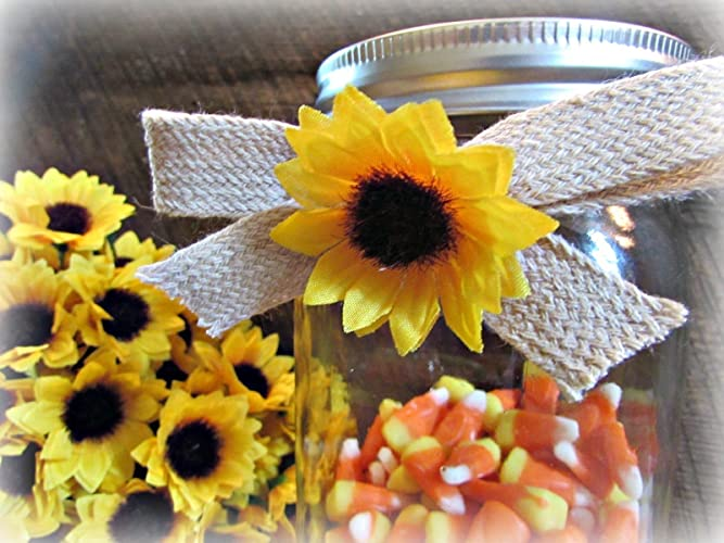 Amazon Sunflower Burlap Bows For Mason Jars Gifts Favors