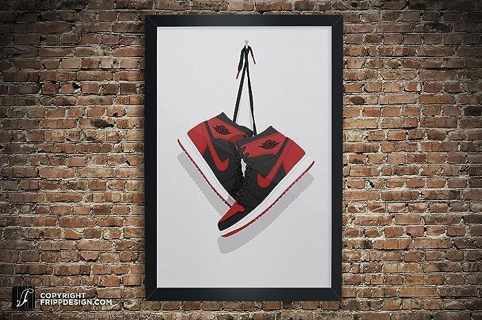 sports shoes d09db cbd82 Air Jordan One Banned, Chicago, Royal, Black Toe, Shattered Backboard  Illustration, Vintage Hanging Kicks -Best Seller Sneaker Wall Art Small  Sizes  12