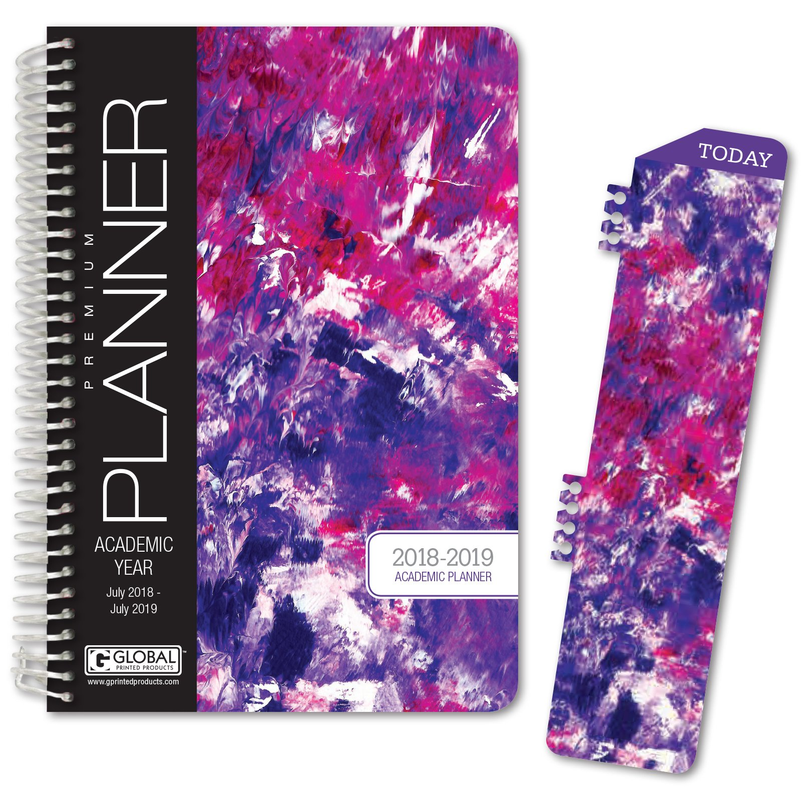 HARDCOVER Academic Year Planner 2018-2019 - 5.5''x8'' Daily Planner / Weekly Planner / Monthly Planner / Yearly Agenda. Bonus BOOKMARK (Purple Art)