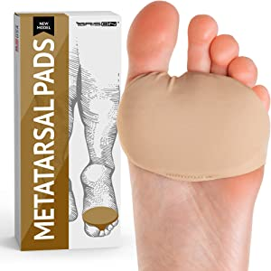 Metatarsal Pads Gel Sleeves Forefoot Ball of Foot Cushions Pads - Fabric Soft Foot Care for Metatarsalgia Bunion Forefoot Blisters Callus Supports Pain Relief (Beige)