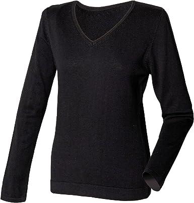 Henbury WomensLadies 12 Gauge Fine Knit V Neck JumperSweatshirt