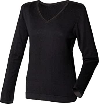 Henbury Womens/Ladies 12 Gauge Fine Knit V-Neck Jumper/Sweatshirt