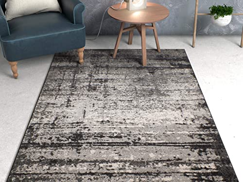 Well Woven Longlac Grey Vintage Stripe Modern Casual 8×11 7 10 x 10 6 Area Rug Thick Soft Plush Shed Free
