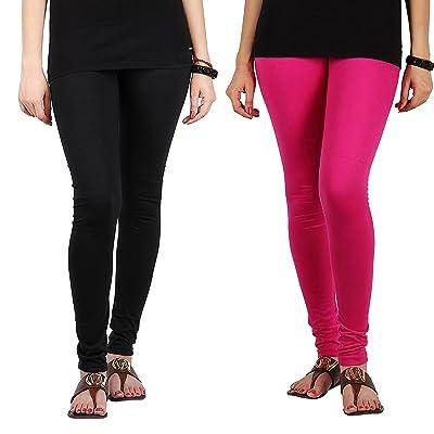 Ardour Ultra Soft Black & Pink High Waist Full Length Cotton Lycra Churidar Legging For Women - Free Size