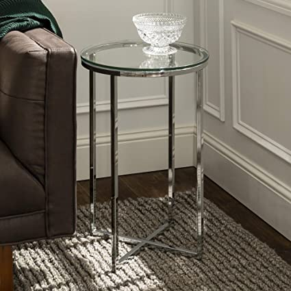 Amazon Com Walker Edison Cora Modern Glass Top Round Accent Table With X Base 16 Inch Glass And Chrome Furniture Decor
