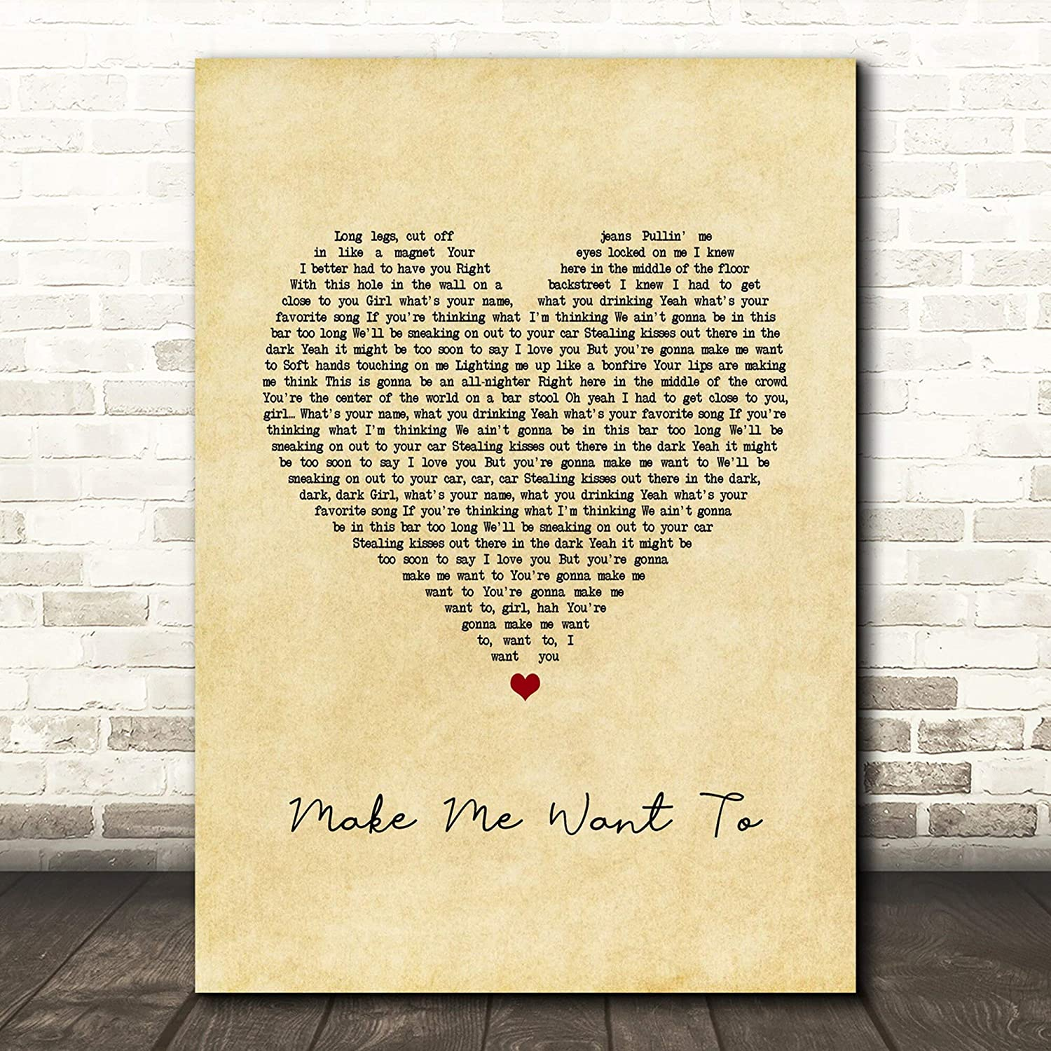 #Jimmie #Allen #Make Me Want to Vintage Heart Song Lyric Poster Wall Art Home Decor Gifts for Lovers Painting