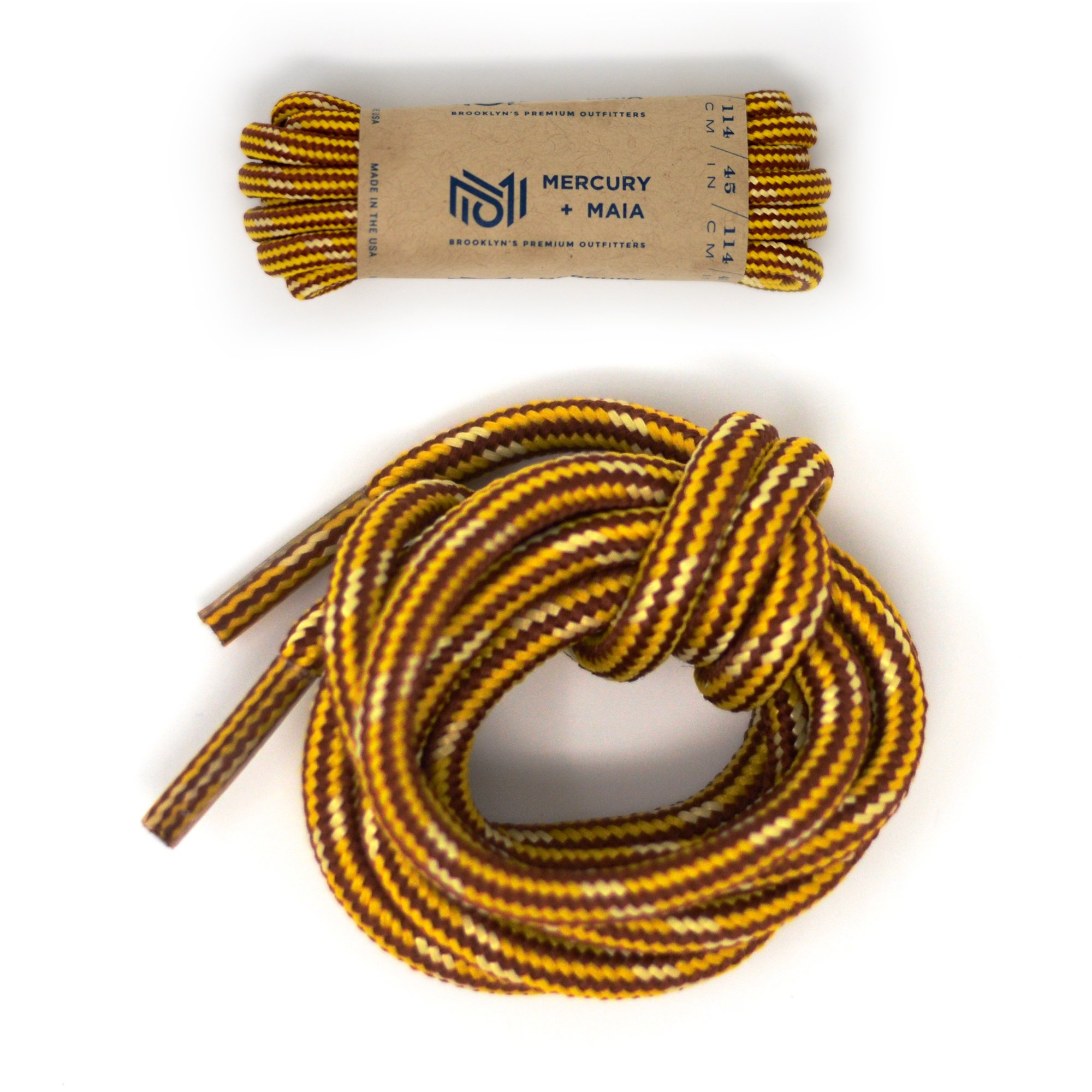 Mercury + Maia Honey Badger Boot Laces W/ Kevlar - USA Made Shoelaces (Gold and Natural) (54 inches 2 Pair Pack)