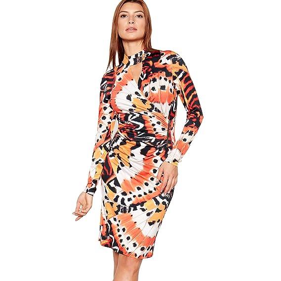 3d83787240 Debenhams Star by Julien Macdonald Womens Orange Floral Print Bodycon Knee  Length Dress 8