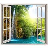 Stickersnews - Sticker fenêtre trompe l oeil Chutes réf 5452 Dimensions - 80x70cm
