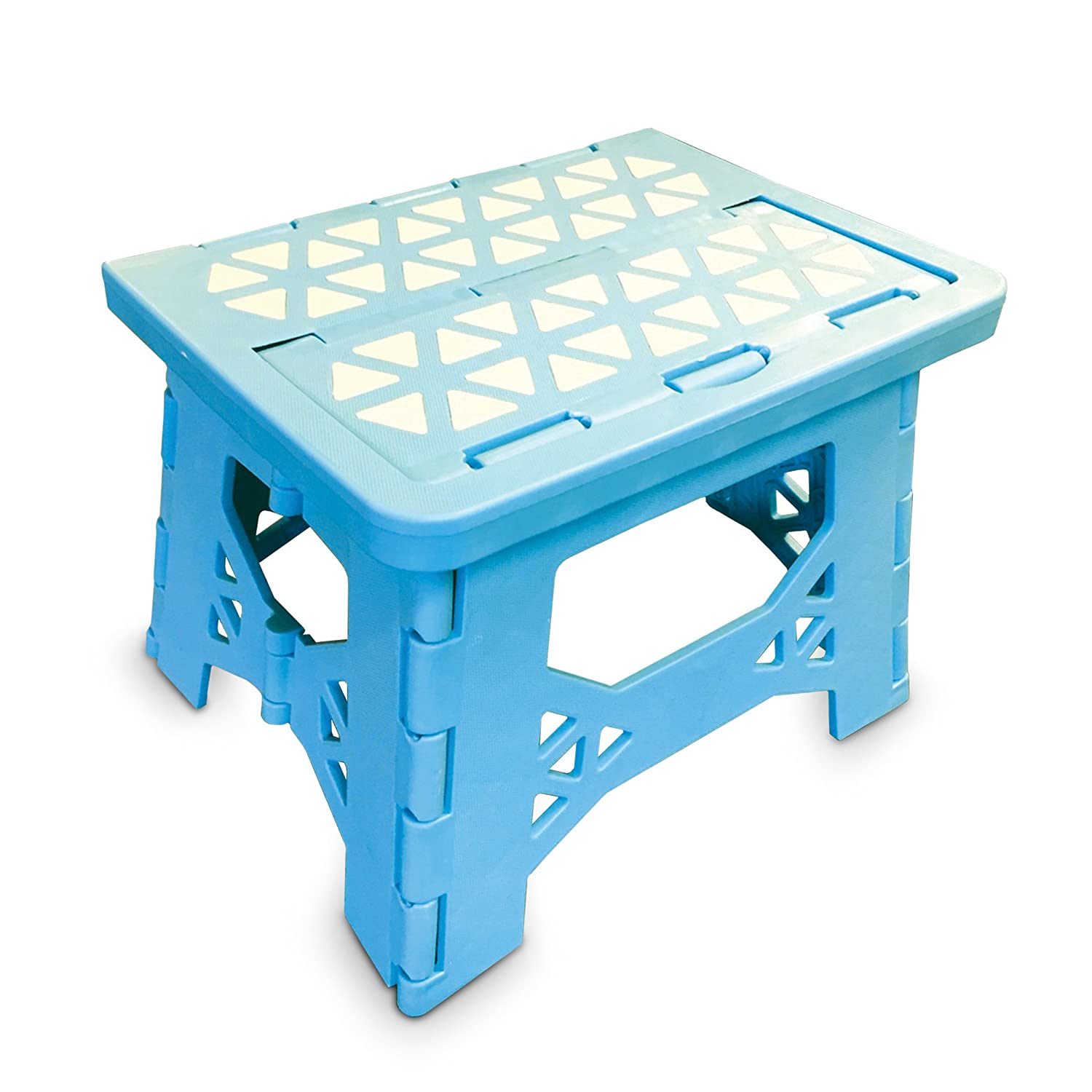 Bula Baby Folding Step Stool For Kids - New Safe Locking System and Non Slip Feet Grip - Blue