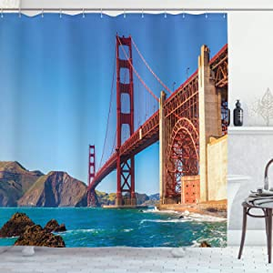 "Ambesonne Travel Shower Curtain, San Francisco Golden Gate Bridge GGB from Marshall Beach in California USA Shore, Cloth Fabric Bathroom Decor Set with Hooks, 75"" Long, Ivory Blue"