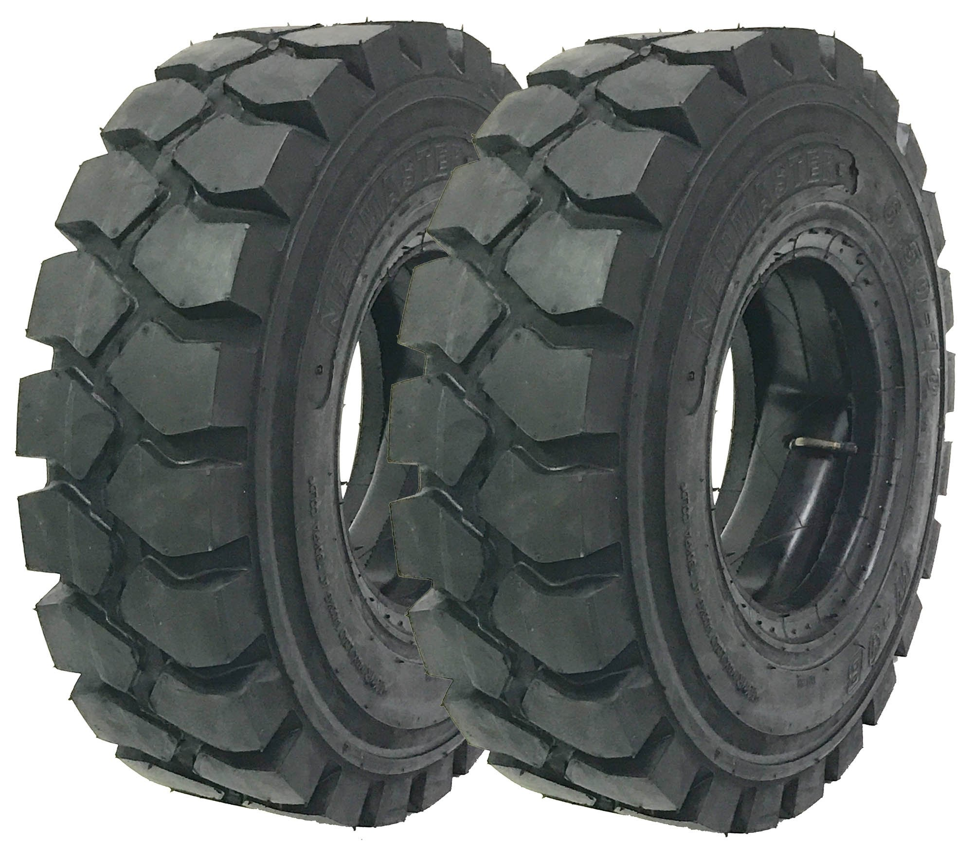 2 New Zeemax Heavy Duty 5.00-8 /10TT Forklift Tires w/Tube & Flap Rim Guard by ZEEMAX