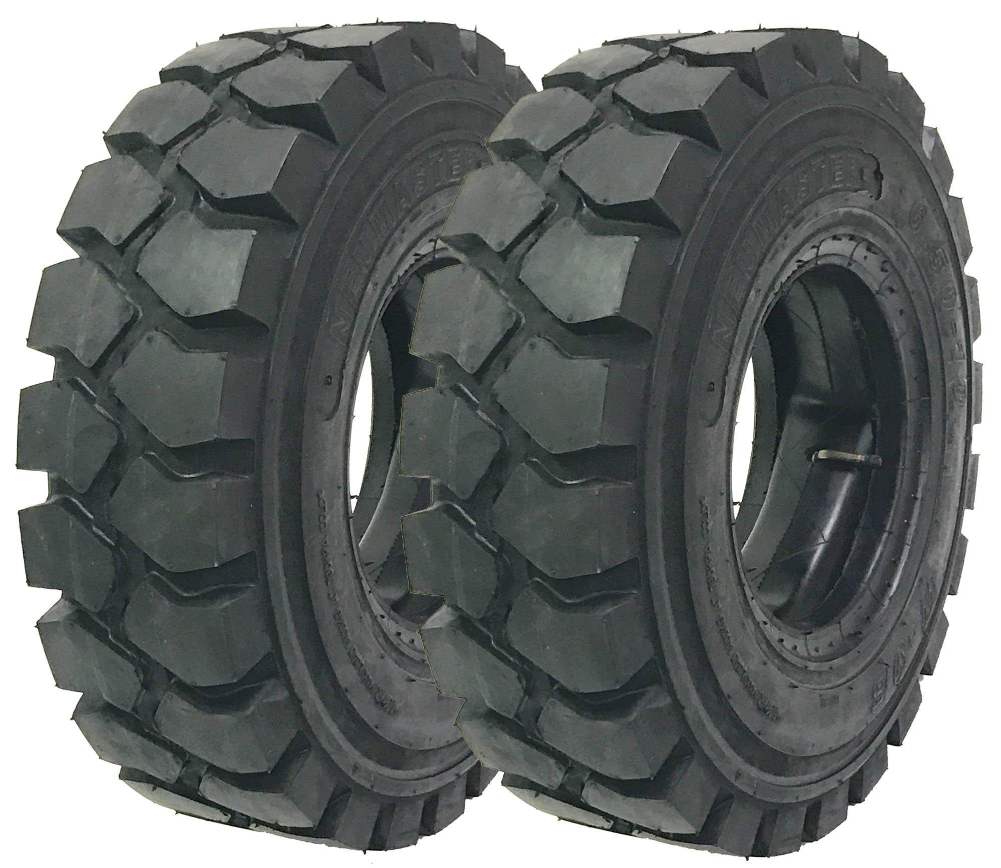 2 New Zeemax Heavy Duty 5.00-8 /10TT Forklift Tires w/Tube & Flap Rim Guard