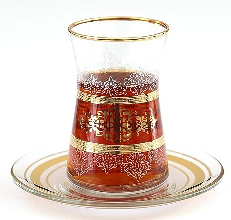 Turquoise Desgin Turkish Tea Glasses with Saucers Set of 6 NURBANU Gold Plated Pink