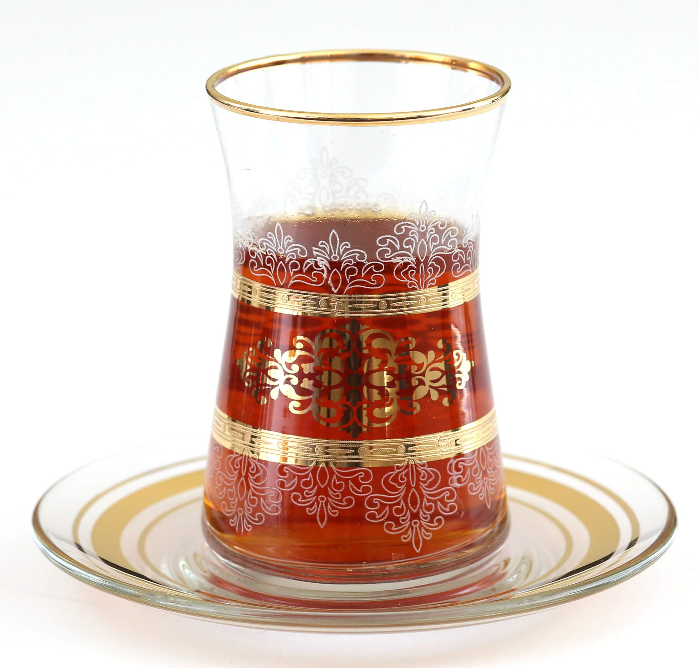 Top Quality Trim Desgin Gold Plated Turkish Arabic Tea Glasses with Saucers Set of 6-Masal