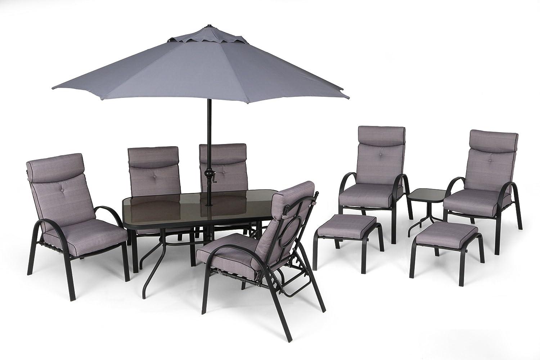 lilo westport dining suite 11 piece garden furniture set 6 chairs table parasol 2 footstools amazoncouk garden u0026 outdoors