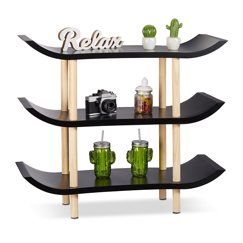 Relaxdays 10021927_49 Scaffale in Legno, 3 Ripiani, Design Asiatico, 4 Gambe, HxLxP: 71x83x32 cm, Bianco Relaxdays GmbH