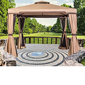 SUNCROWN Outdoor Garden Gazebo 10' x 10' Patios Gazebo All-Season Permanent Gazebo w/Vented Soft Canopy, Double Square Tops & Mosquito Netting- Beige | Front Porch, Sand