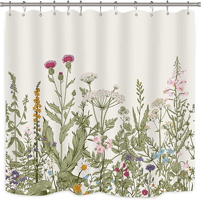 """71/""""Spring Red Tulip Flowers Tree Branch on White Fence Waterproof Shower Curtain"""