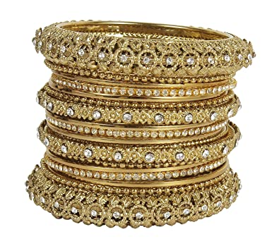 MuchMore Ethnic Traditional Indian Bollywood Style Antique Gold Plated Polki Bangle Jewellery GYo6qpY