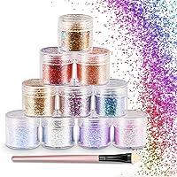 WOSTOO Purpurinas Polvo Chunky Glitter Purpurina para el Rostro, Cara y Cuerpo Maquillaje Glitter Paillette Brillante Decoración para Pelo, Uñas y Mejilla -10 Cajas