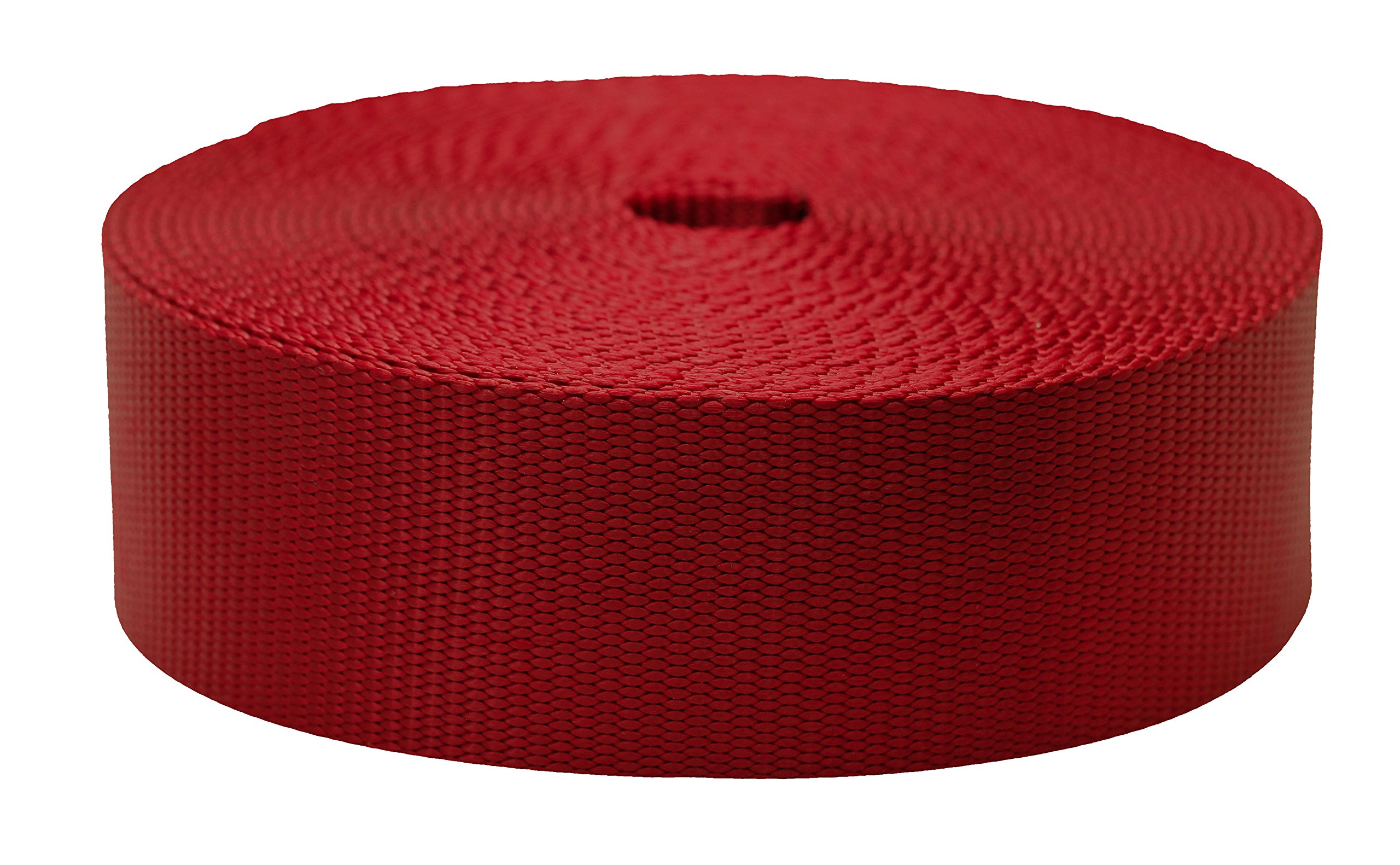 Strapworks Colored Flat Nylon Webbing - Strap For Arts And Crafts, Dog Leashes, Outdoor Activities - 2 Inches x 50 Yards, Dark Red by Strapworks