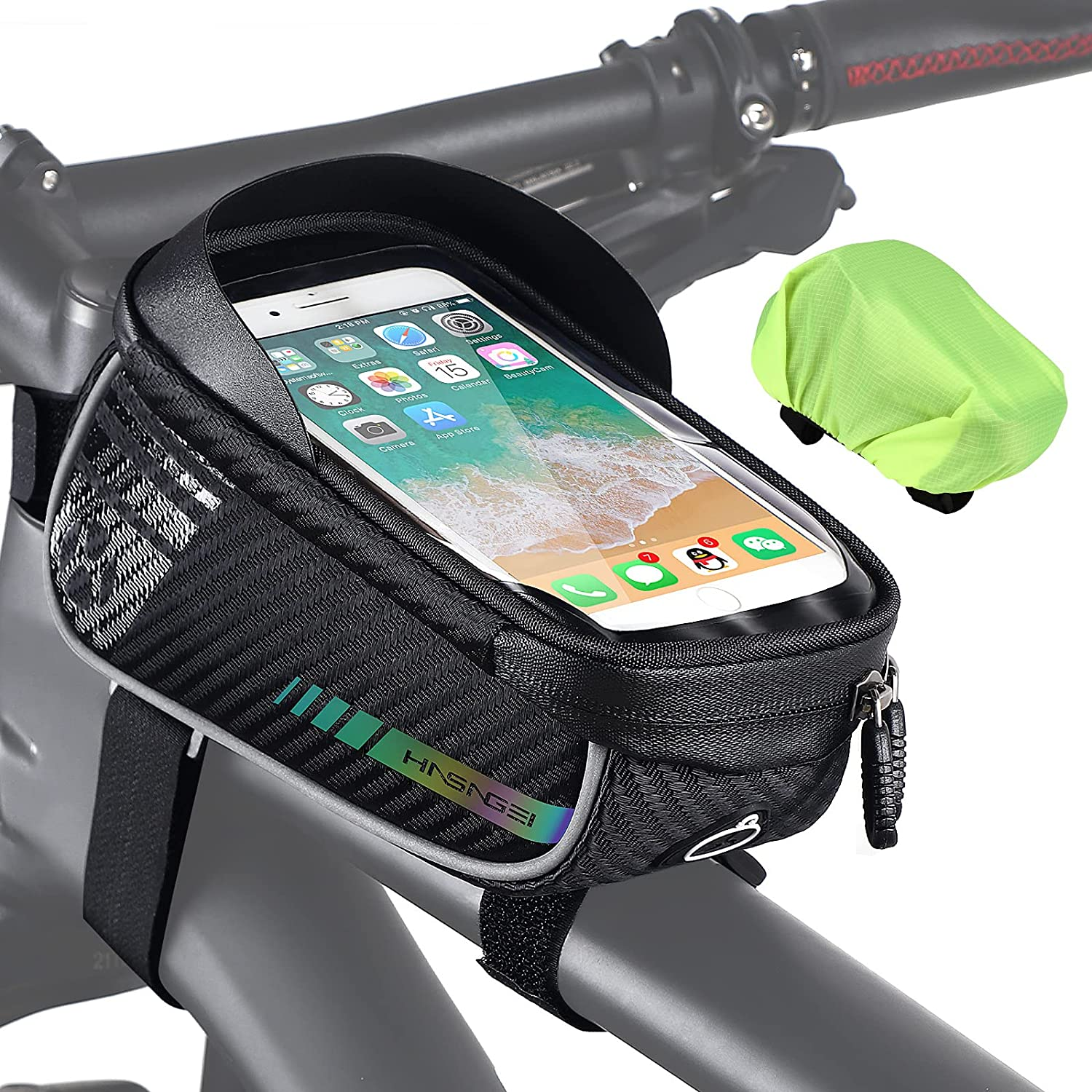 HASAGEI Bicycle Frame Bag Waterproof – Bicycle Mobile Phone Holder Ideal for Navigation, Mountain Bike Bag, Bicycle Bag Frame, Bicycle Accessories, Bicycle Mobile Phone Bag for Smartphone Under (6.5 – 7 Inches)