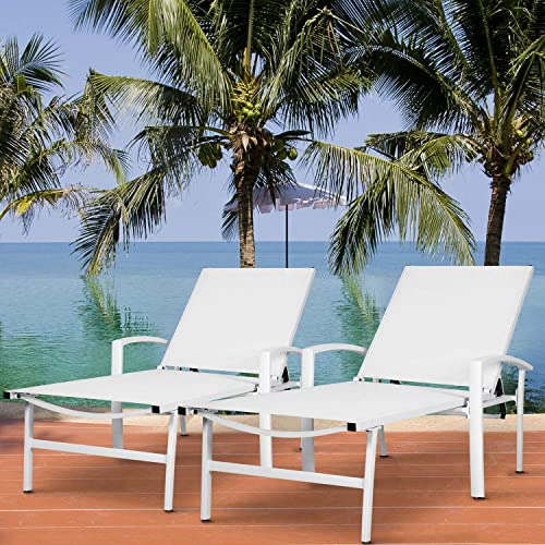 Nuu Garden 2 Piece Outdoor Folding Aluminum Reclining Lounge Chairs, Adjustable Beach Chairs, Lightweight Portable Sling Recliners for Lawn, Pool, Yard – White