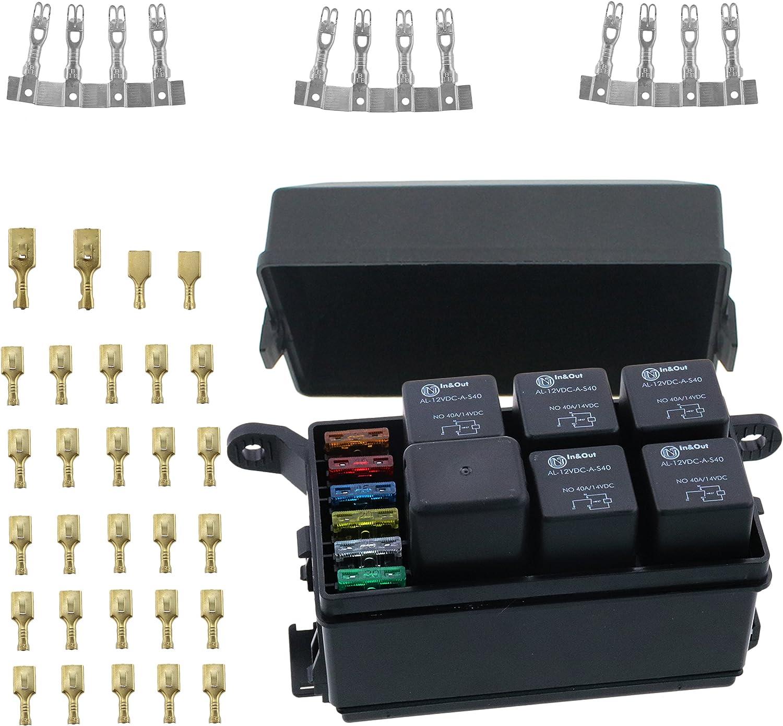fuse box relays amazon com iztoss 12 slot relay box 6 relays 6 blade fuses fuse fuse box restaurant oakland relay box 6 relays 6 blade fuses