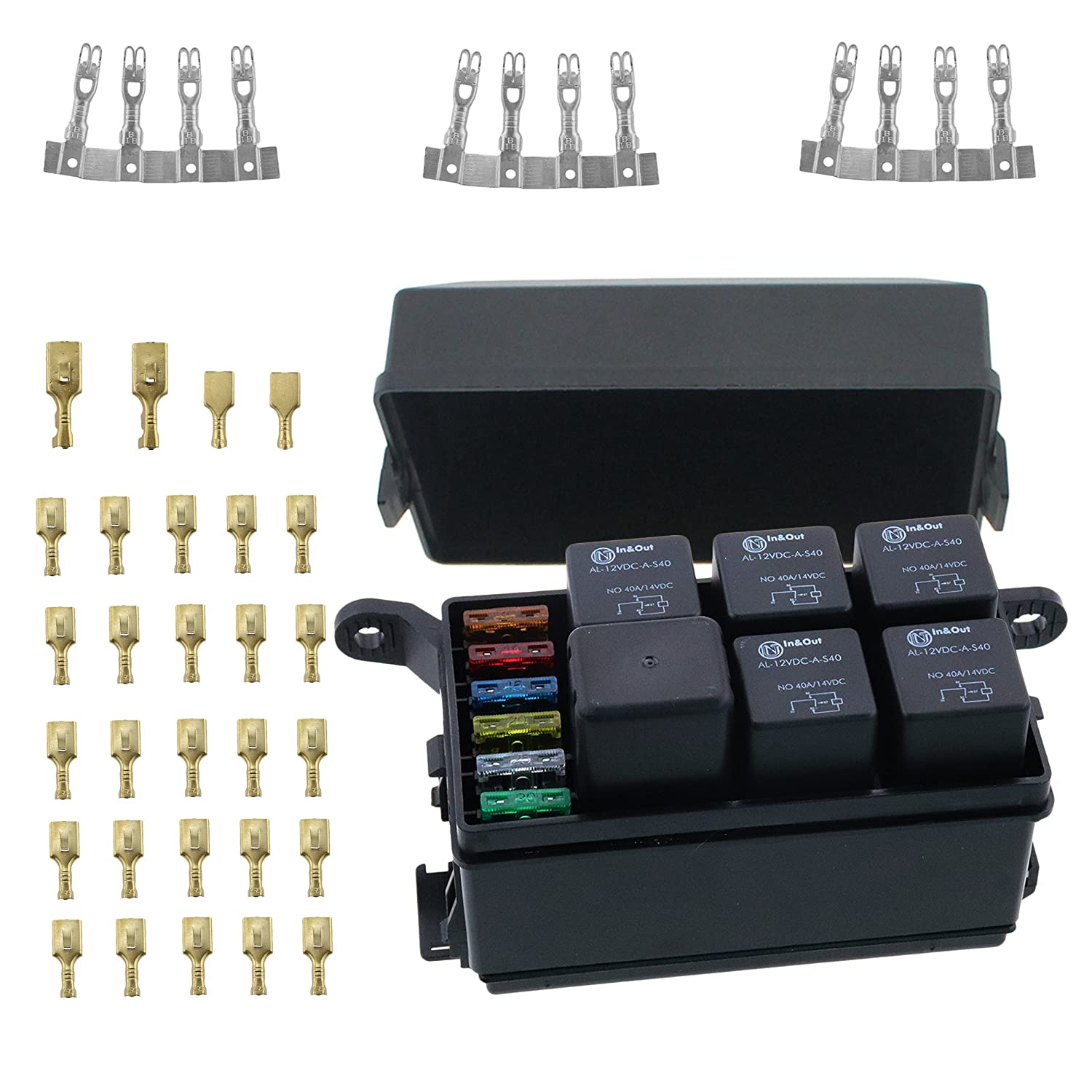 12 slot relay box 6 relays 6 blade fuses fuse relay box including fuses,4pins 12v 40a relays and metallic pins for automotive marine and boat automotive fuse relay box automotive fuse and relay box #2