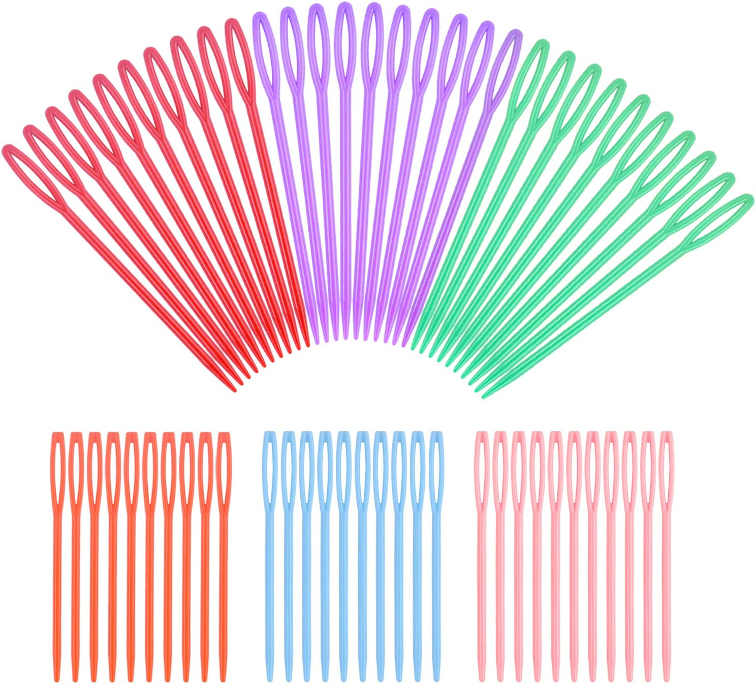 3.54 inches and 2.75 inches 60 Pieces Colorful Large Eye Plastic Sewing Needles ,Safety Plastic Lacing Needles for Crafts