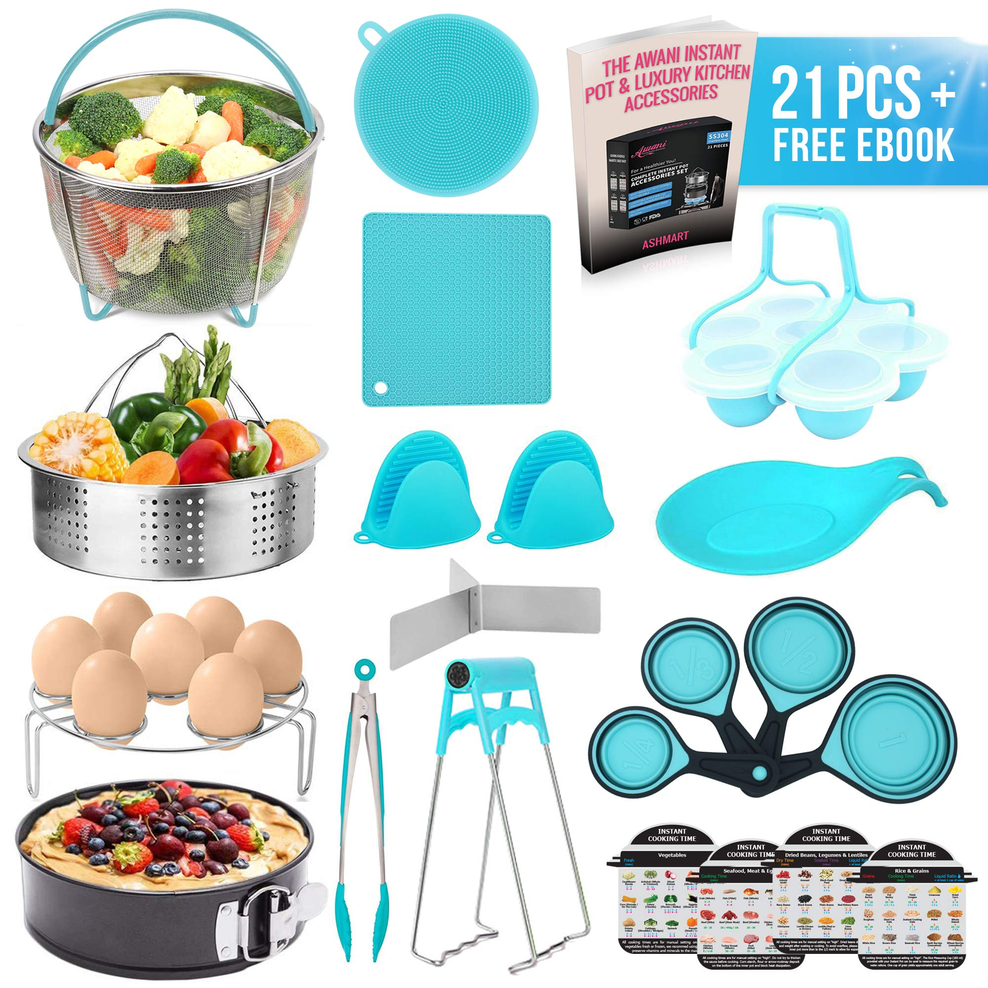 22 Pcs Instant Pot Accessories Set,Pressure Cooker(6,8qt),Steamer Basket,Silicone Mitts and Mats,Springform Pan,Egg Rack,Bites Mold,Spoon Holder,Plate Clip,Insta Cheat Sheets,Measuring Cups,Tong,Brush