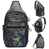 KastKing Pond Hopper Fishing Sling Tackle Storage Bag - Lightweight Sling Fishing Backpack - Sling Tool Bag for Fishing Hiking Hunting Camping,Without Box,17.7X 12.6X 6 Inches,Blackout