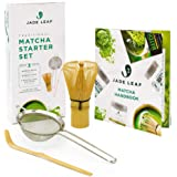Jade Leaf Traditional Matcha Starter Set - Bamboo Matcha Whisk (Chasen), Scoop (Chashaku), Stainless Steel Sifter, Fully Prin