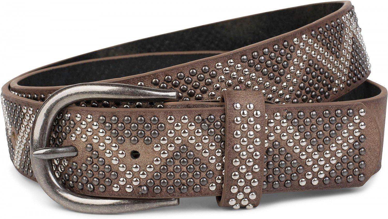 styleBREAKER cinturón de remaches con remaches bicolores en apariencia de picos, cinturón «vintage», acortable, unisex 03010069
