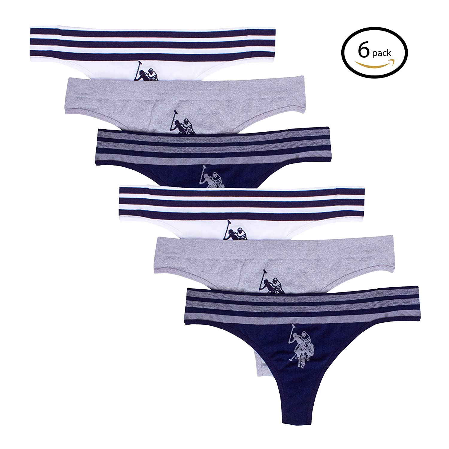 U.S. Polo Assn. Womens Multi Pack Hi Cut Elastic Waist No Panty Lines Thong Panties