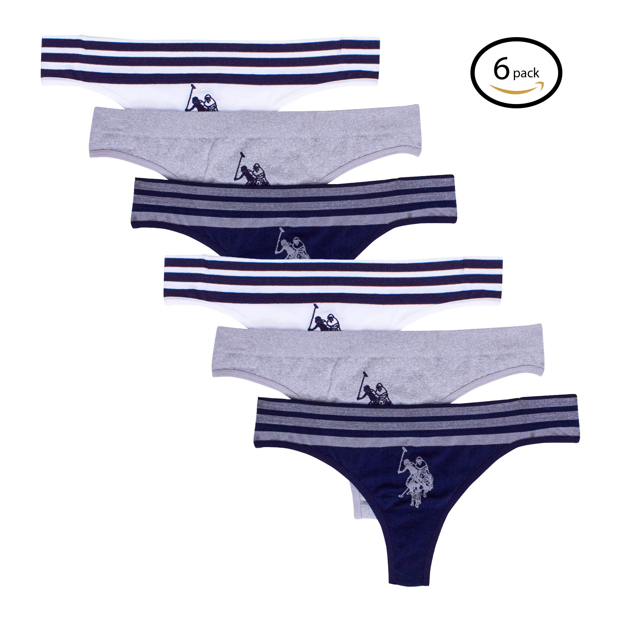 U.S. Polo Assn.. Womens 6 Pack Seamless Logo Thong Panties Evening Blue Water/Grey/White Medium