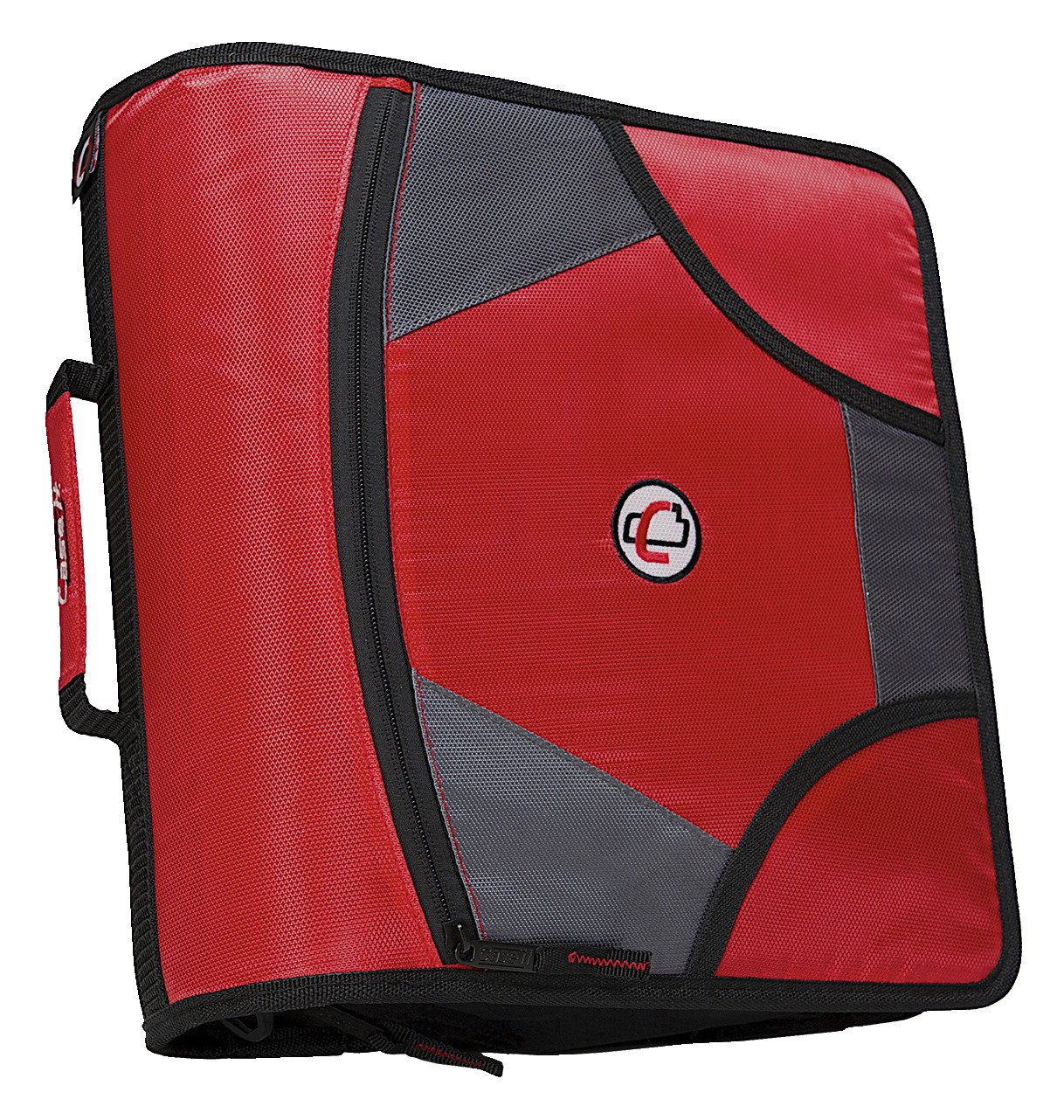 Case-It Zipper Binder with 5 Tab Files, D-Ring, 4 inches, Red
