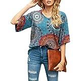 SUEANI Women's Blouse Tops Loose V Neck 3/4 Bell Sleeve Shirt