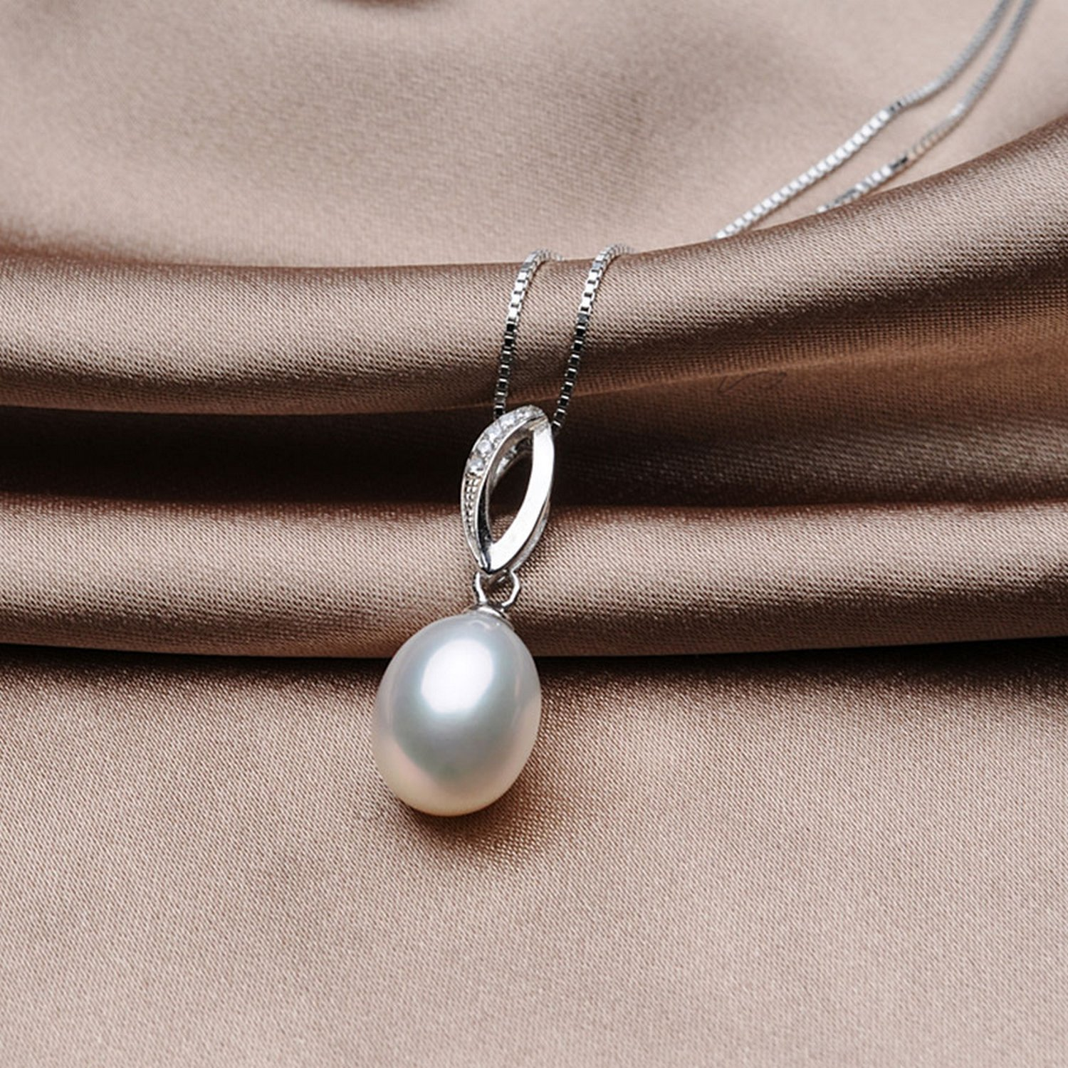 MMC White Pearl Chain Silver Pendants Necklaces