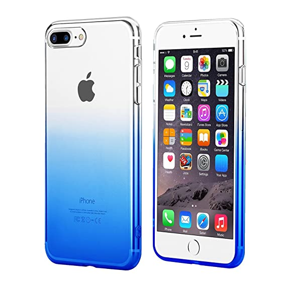 Egotude Soft Silicone Gradient Slim Back Cover Case for Apple iPhone 7 Plus   8 Plus  Gradient Blue  Cases   Covers